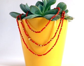 Her Coral Jewelry / Tiny Coral / Layered Necklace / Coral Bridal Jewelry / Beaded necklace / Coral And Gold / Red Beaded Necklaces