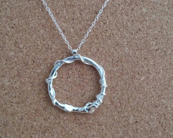 Circle necklace, Eternity necklace, Circle pendant, Gift for her, Open necklace, Circle jewelry, Silver circle.