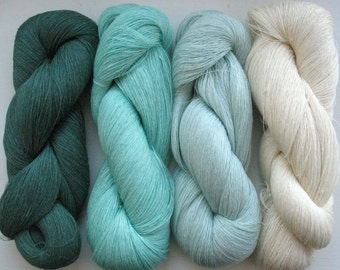 Linen Yarn Mint Green 400 gr (14 oz ), Cobweb / 1 ply, each hank contains approximately 3000 yds
