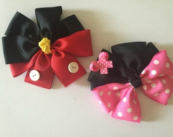Disney Mickey and Minnie inspired hair bow