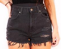 Black high waist shorts/grunge shorts/distressed/destroyed/levis wrangler rustler lee/hipster/plussize/vintage