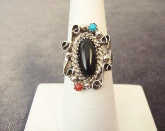 Sterling Silver Native American Multi Stone Ring Sz.7 1/2 R77