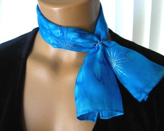 Bright Blue Silk Scarflette. Small Hand Dyed Silk Scarf. 6x24 inch Turquoise Blue Petite Silk Scarf. Sky Blue Neck Scarves. Free Scarf Ring.