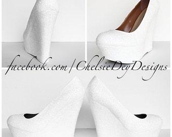 White Glitter Wedges - Sparkly Platform Heel - Glitzy Wedding Heels - Prom Wedges