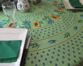"""70"""" diameter round tablecloth.Oilcloth OR   Cotton .Choose your fabric!fabric from Provence,France.  Sunflowers in Green"""