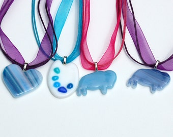 Clearance Sale, Fused Glass Necklace