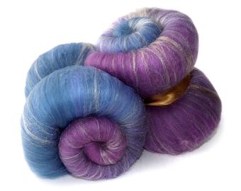 Spinning batts - Gradient - 100g - 3.5oz - Merino - Firestar - Purple - Lilac - Blue TWILIGHT