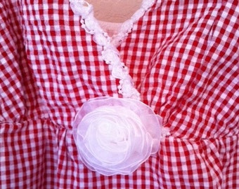 Red And White Gingham Sundress With Lace Trim And Rose