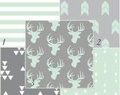 MADE TO ORDER Mint Grey Deer Baby Bedding Modern Nursery