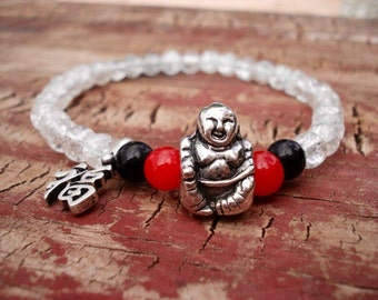 Happy Buddha Bracelet, Clear Red Black Glass Beaded Bracelet, Laughing Buddha, Lucky Buddha, Buddha Jewelry, Boho Jewelry, Yoga Jewelry