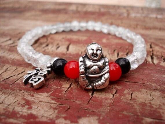 Happy Buddha Bracelet, Clear Red Black Glass Beaded Bracelet, Laughing Buddha, Lucky Buddha, Buddha Jewelry, Boho Jewelry, Yoga Jewelry