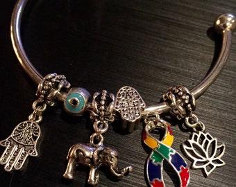 Autism Awareness Bracelet - Puzzle piece charm on adjustable silver bracelet - Asperger's Charm - Hamsa - East Indian