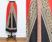 Red Silk Skirt // Ornate High Waist Skirt // Large Size 16 Silky Midi Calf Length XL Plus Size Lightweight Gold Black Trim