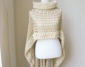 Suzi  Poncho   Beige  Poncho Crochet Knit Plus Size.