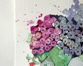 Hydrangea Florals - Original Watercolour + Ink Pen Art Drawing - Size A5 - (unframed)