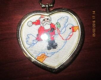 Santa Rides a Goose Christmas Tree Ornament