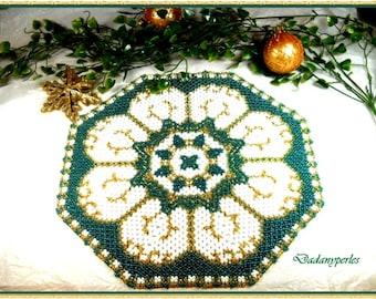 pattern bead weaving doily gold flower