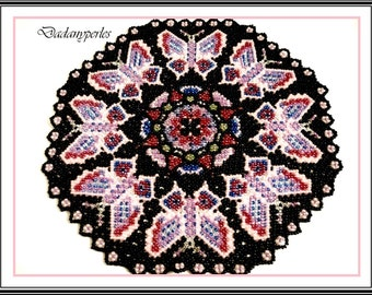 pattern bead weavig doily bright butterfly