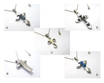 A stainless steel(5 Style) cross pendant necklace, A silver plated symbol stainles cross pendant