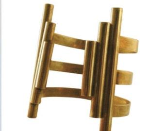 Triple Tube geometric brass cuff, handmade