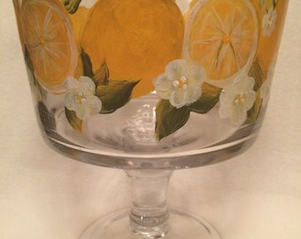 Trifle bowl hand painted lemons