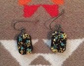 Vintage Lucite Earrings With Gold and Turquoise Flakes