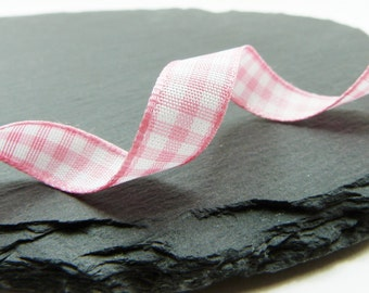 Pink and White Check Gingham Ribbon 10mm Berisfords