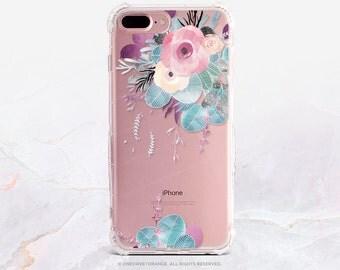 iPhone 7 Case Floral Clear Rubber Case iPhone 7 Plus Clear Case iPhone 6 Clear Case iPhone 6S Case iPhone SE Case Samsung S7 Edge Case U24