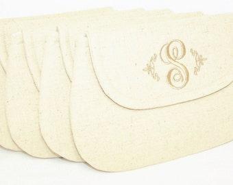 Bridesmaids Set  - Personalized Linen Clutch - Wedding Clutch - Bridesmaid Clutch