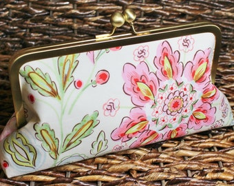 Floral Clutch - Ready to Ship - Mother's Day - Kisslock Clutch