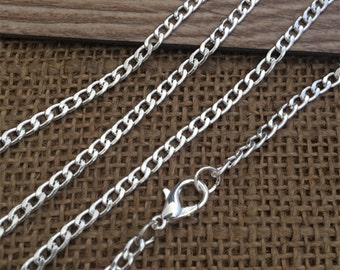10Pcs Of 22inch Silver Necklace Chain For Jewelry making 3MMX5MM