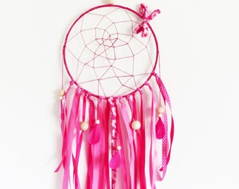 Dream-catchers or mobile 20 cm pink FUCHSIA crocheted, feather, ribbons, Indian decoration
