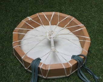 """12"""" Cow Rawhide Drum, Native American Style with Tree of Life Lacing, Shaman / Pagan Drum"""