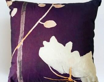 Throw Pillow:  Big White Flower on Plum