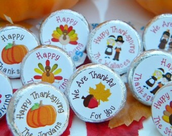 Thansgiving Hershey Kiss Stickers - Thanksgiving Decor - Personalized Thanksgiving Favors - Hershey Kiss Stickers - Thanksgiving Favors