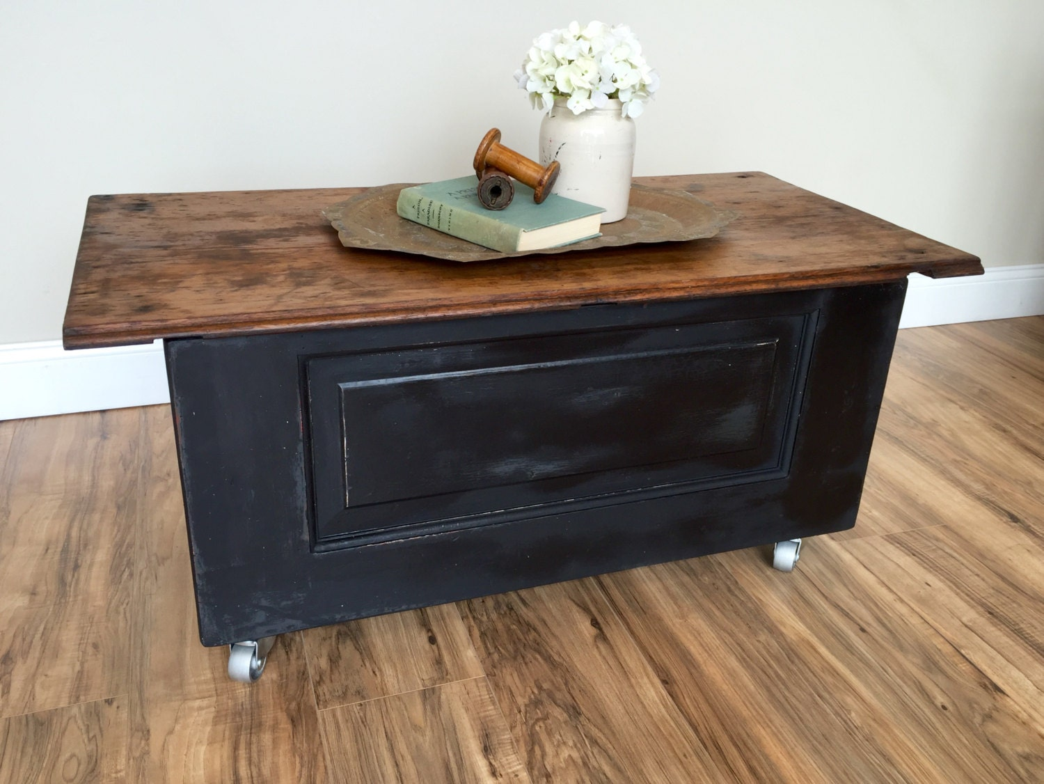 Storage chest trunk rustic coffee table wood and metal Rustic wood and metal coffee table