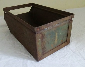 F16 Vintage Industrial Steel Bin Metal Parts Container Military Stackable #1