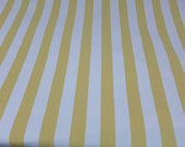 """Cotton Canvas Striped Upholstery Fabric by the Yard 55"""" Wide Yellow and White Broad Stripes Outdoor Fabric Modern Patio"""