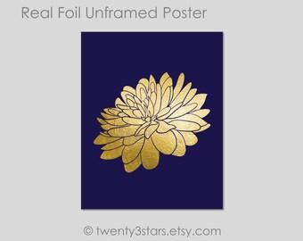 Lotus Metallic Art Print, Gold foil Lotus Flower Art, Yoga Art, Buddhist Gold Foil, Lotus Flower Name Foil Art Print, Gold Foil Lotus Art