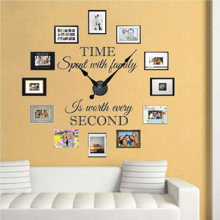 Real family clock wall decal living room vinyl clocks vinyl for Living room decor quotes