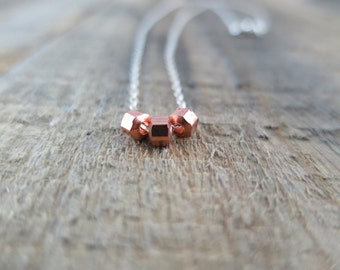 Copper Nugget and Silver Necklace