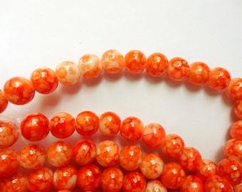 100 Orange And White Mottled Glass Beads - 24-26