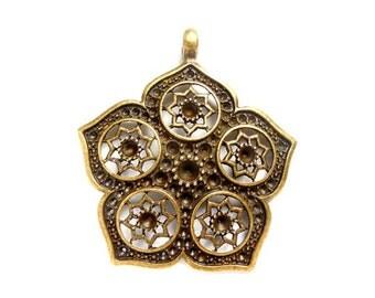 1 Antique Bronze Flower Mandala Pendant - 21-37-5