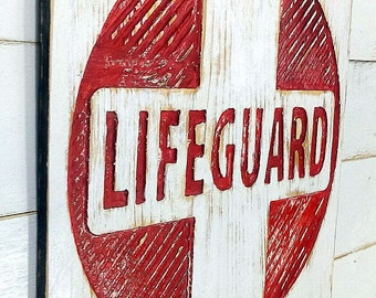 "LIFEGUARD Sign 20"" Square - Carved in 5/8"" Plywood, Painted and Distressed Beach Coastal Home Decor Living Pool Distressed"
