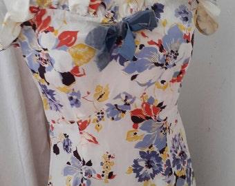 Beautiful 1930s - 40's floral print long dress