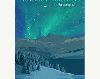 "50% OFF Aurora Borealis Northern Lights Minimalist Wonders Poster  - 11""x17"""