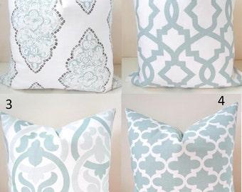 BLUE PILLOWS Blue Throw Pillow Covers Blue Pillow Snowy Silver Blue Throw pillows  .All Sizes. 16x16 18 20 Aqua Blue Pillows Home Decor