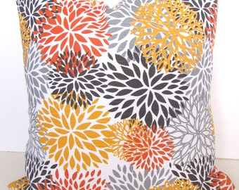 PILLOWS ORANGE Decorative Throw Pillows Gray Pillow Covers 18x18 Coral  Yellow Floral Home and living Home decor
