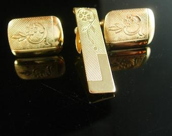 Wedding Cufflinks Tie Clip Hand polished Set Engraved gold design groom Fine Quality Tuxedo cuff links suit attire cuff links Tie bar