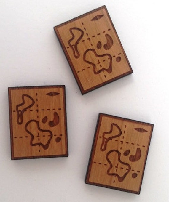 Laser Cut Supplies- 2 Piece. Adventure Map Charms - Cherry Wood-Laser Cut- Little Laser Lab Sustainable Wood Products